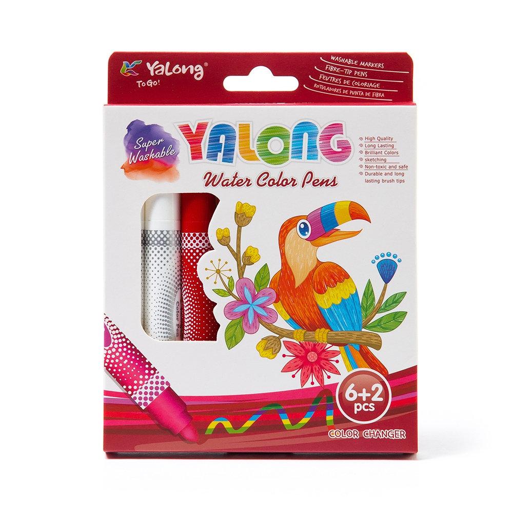 Фломастеры магические 6+2цв Yalong Parrot смываемые