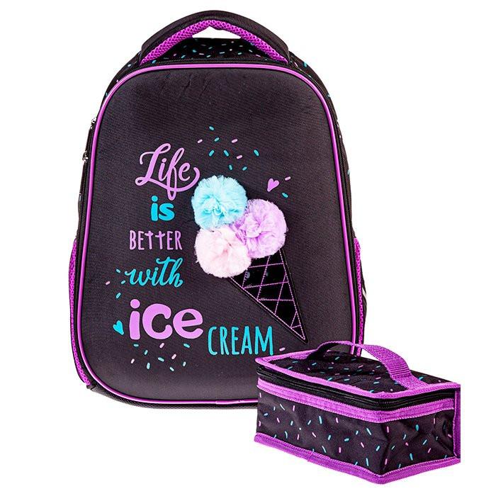Ранец панцирный Hatber Ice cream черный с фиолетов.
