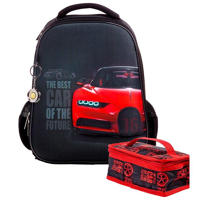 Ранец панцирный Hatber Best car черный с красным