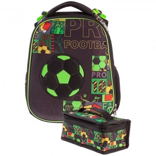Ранец панцирный Hatber Футбол черный с зеленым