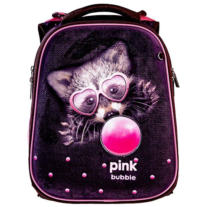 Ранец панцирный Hatber Bubble-Енот черный с розовым