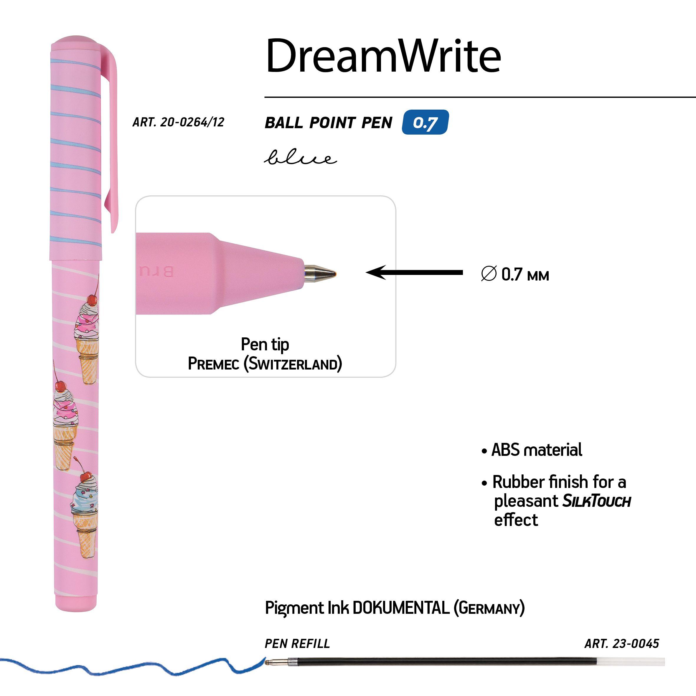Ручка подар шар BV DreamWrite синяя 0,7мм Сахарный рожок