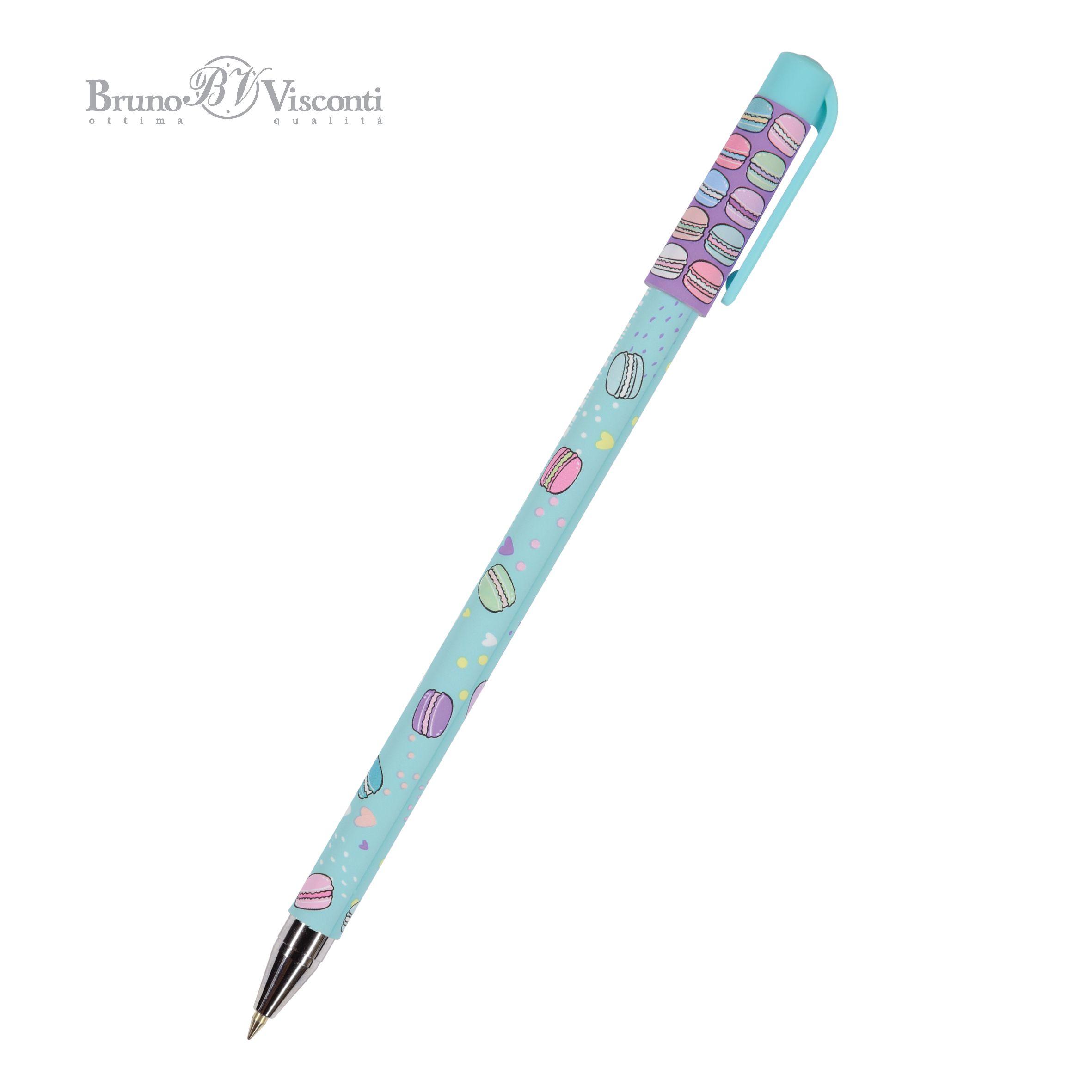 Ручка шариковая синяя BV HappyWrite. My sweet. Mакаруны 0,5мм принт