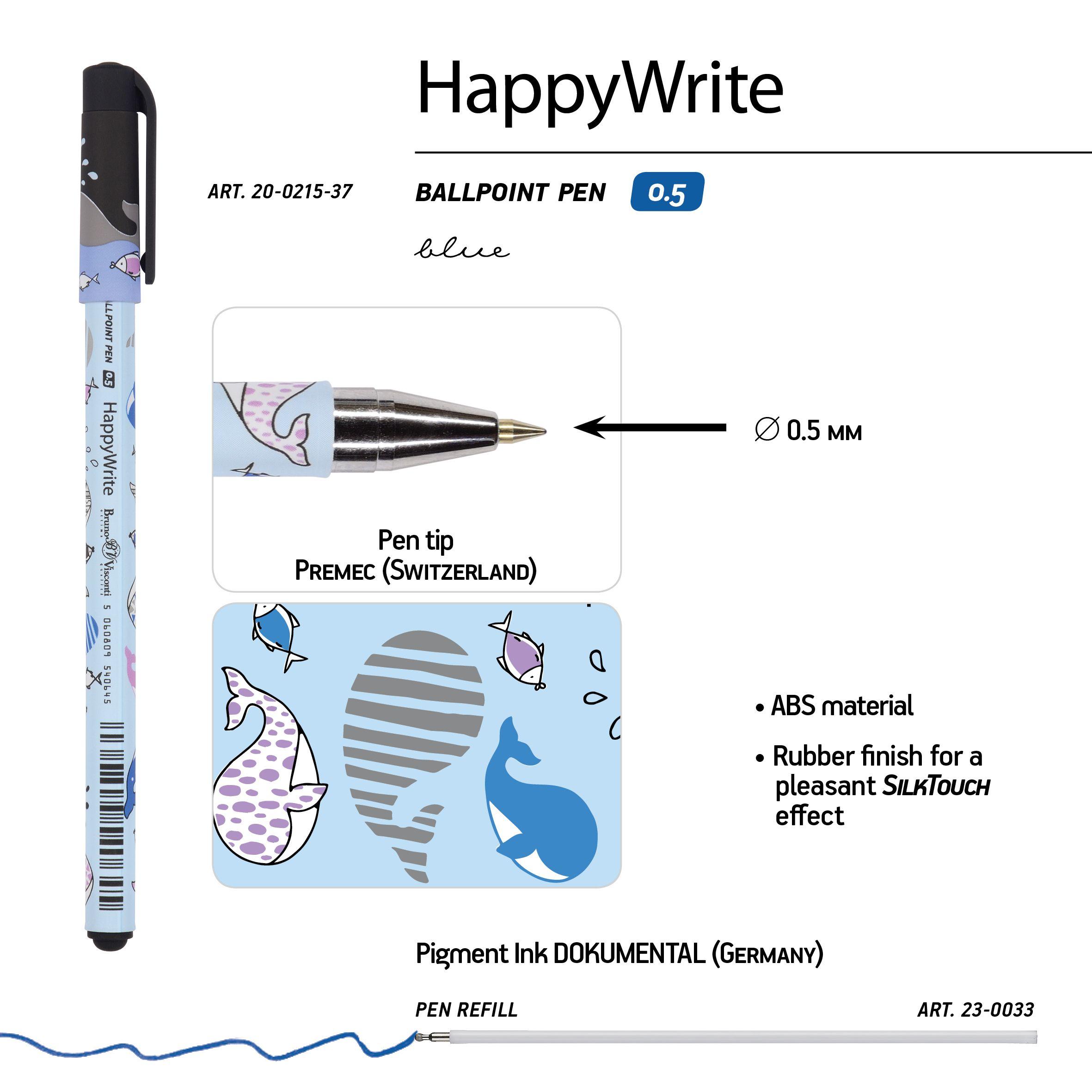Ручка шариковая синяя BV HappyWrite. Друзья. Киты 0,5мм принт