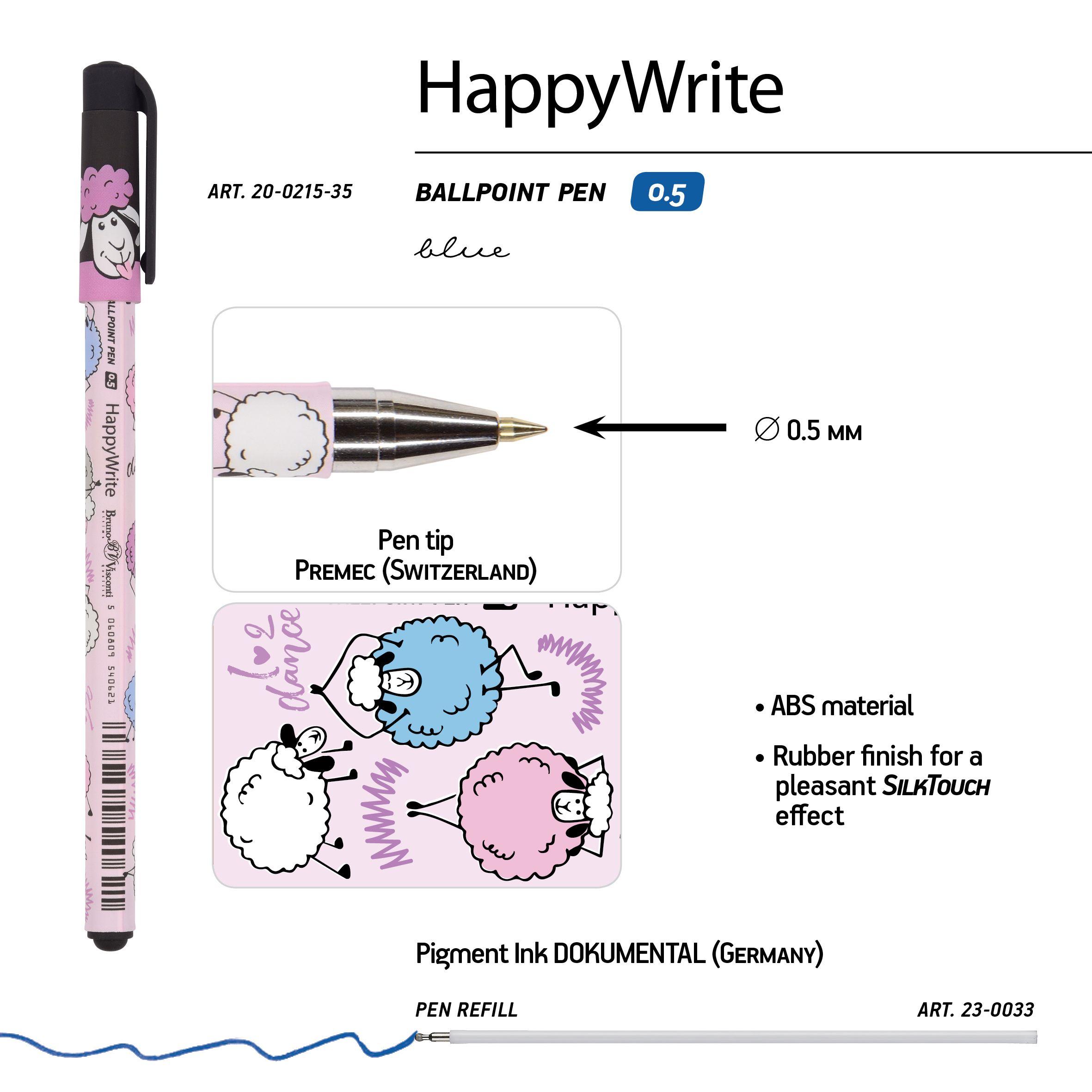 Ручка шариковая синяя BV HappyWrite. Друзья. Овечки 0,5мм принт