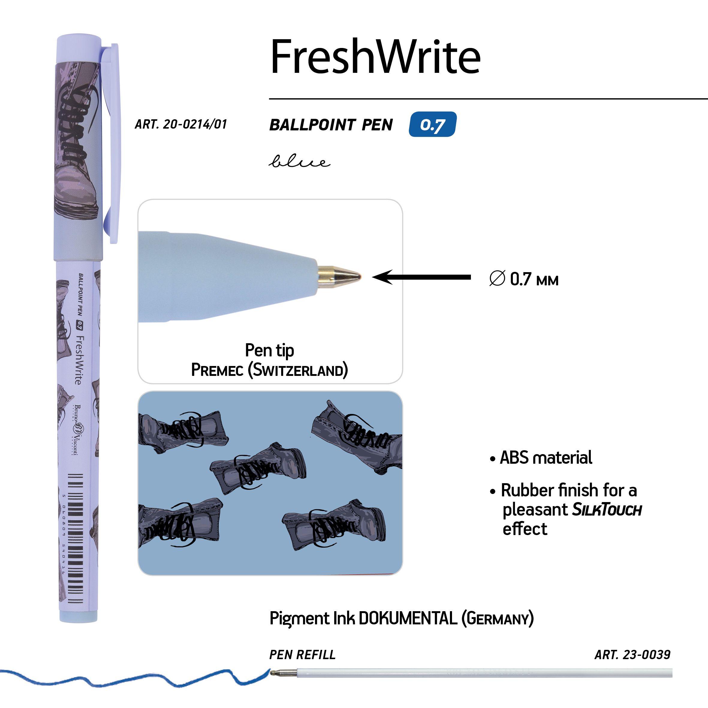 Ручка шариковая синяя BV FreshWrite. Boots. Синие ботинки 0,7мм принт