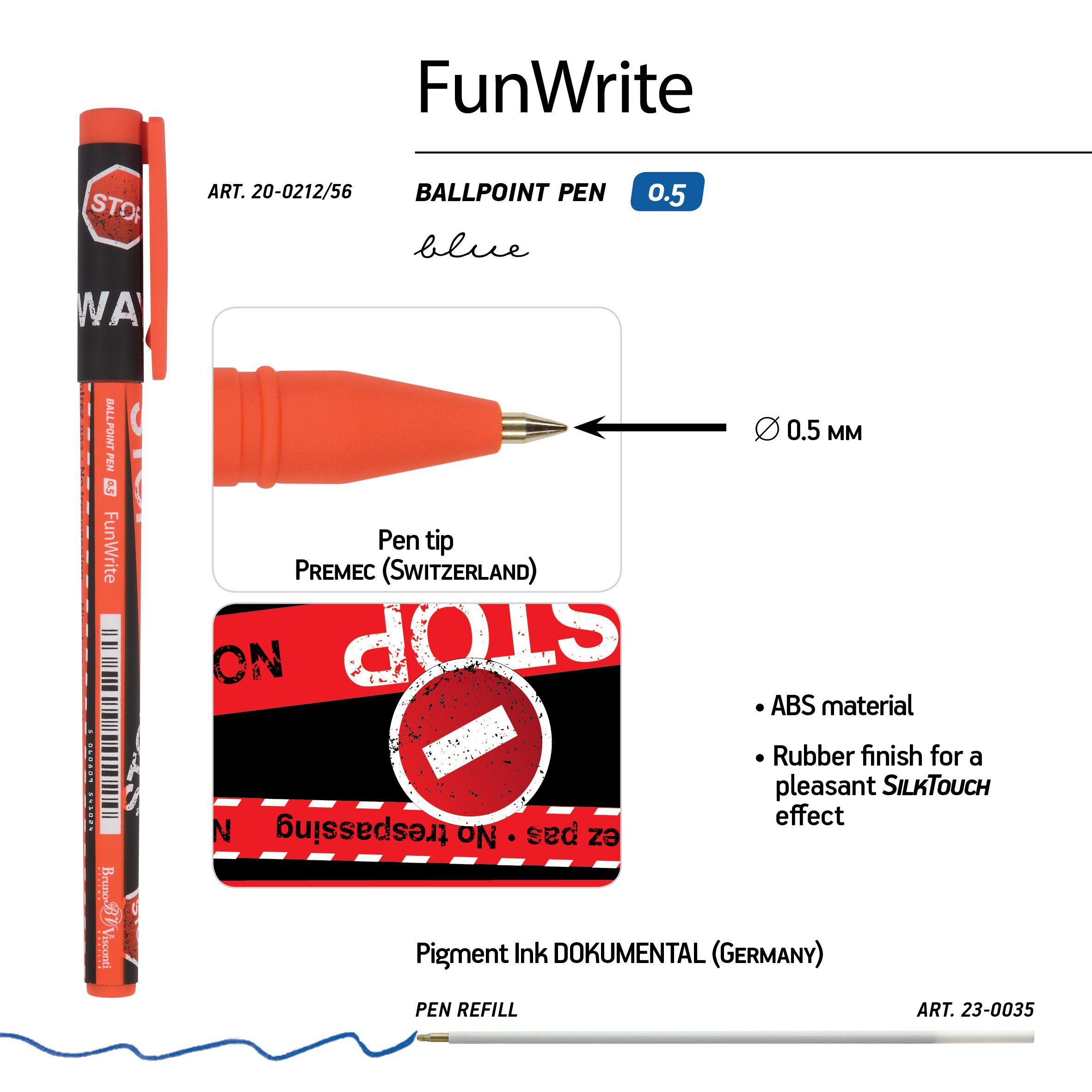 Ручка шариковая синяя BV FunWrite. Keep Away. Stop 0,5мм принт