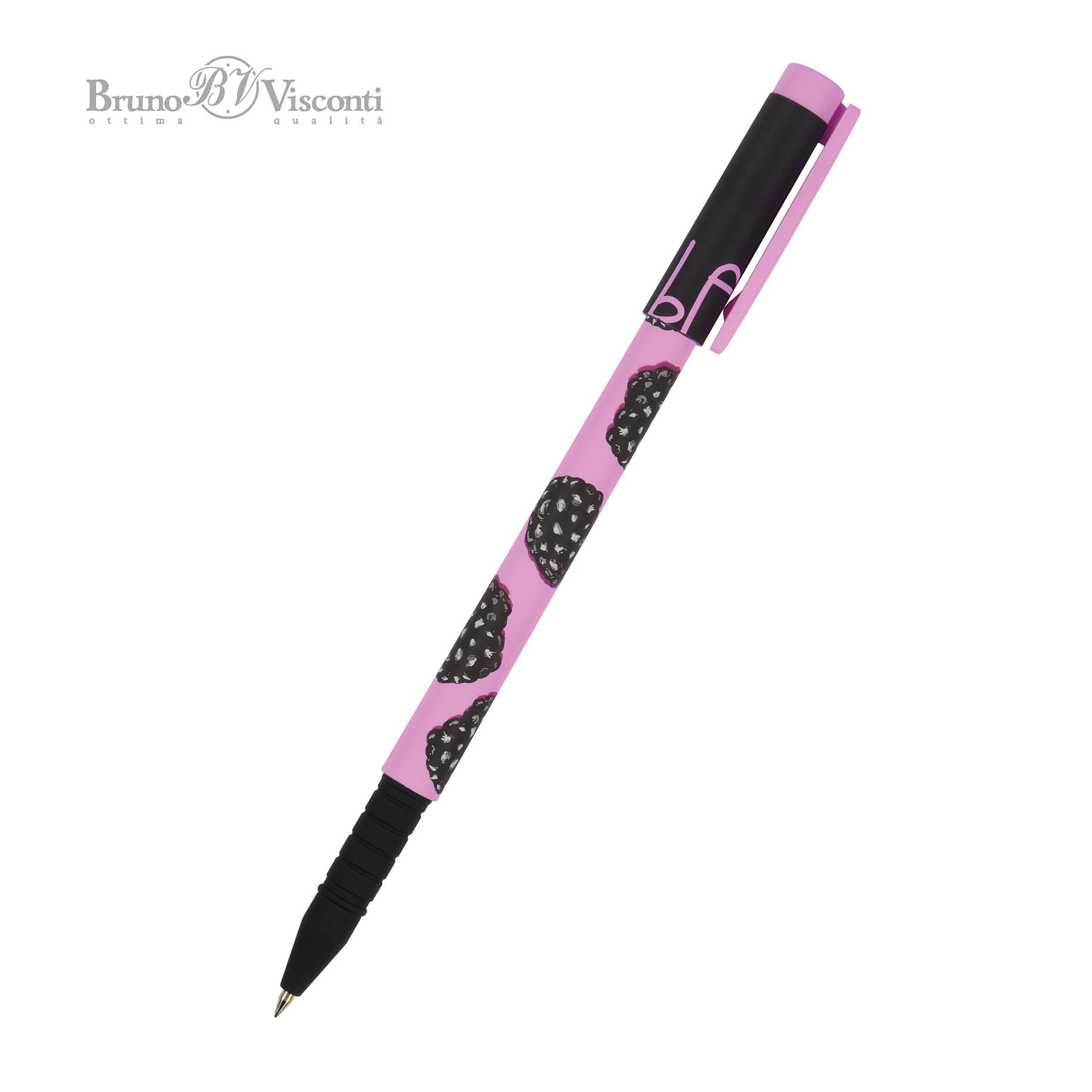 Ручка шариковая синяя BV FunWrite. Ягоды. Графика. Ежевика 0,5мм принт
