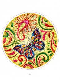 Творч Алмазная мозаика Круг 24см Яркая бабочка