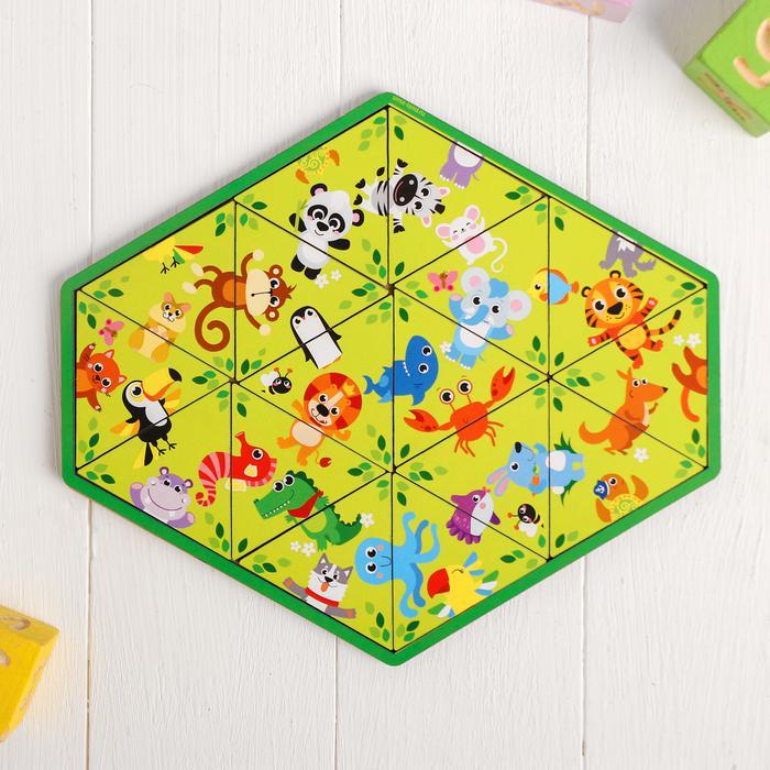 Игра Головоломка Животные зоопарка пасьянс деревян.