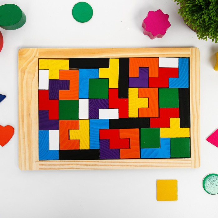 Игра деревянная Головоломка Зигзаг прямоугольная, 40дет
