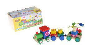 деревянная Конструктор Паровоз 3 вагона с цветными объёмными фигурами и серпантинкой
