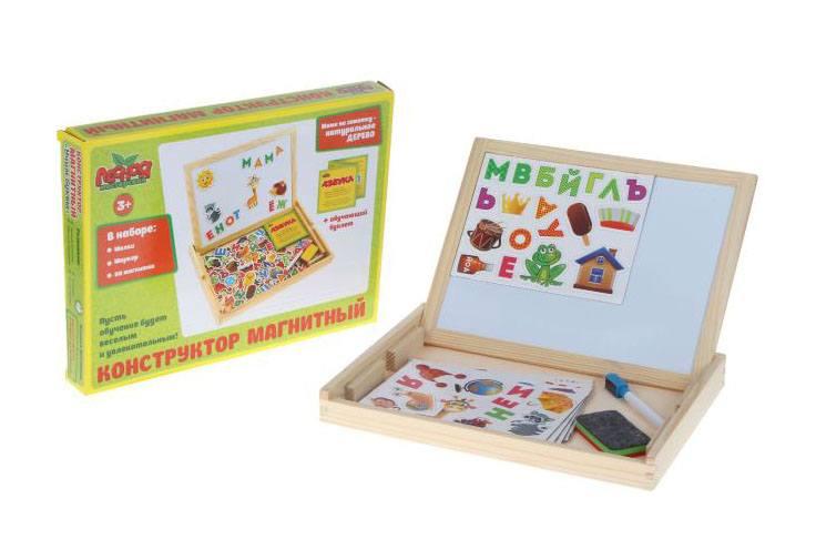 деревянная Конструктор магнитный Алфавит в деревянной коробке + мел, маркер, губка