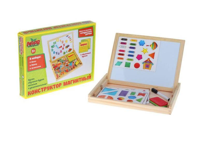 деревянная Конструктор магнитный Цифры в деревянной коробке + мел, маркер, губка
