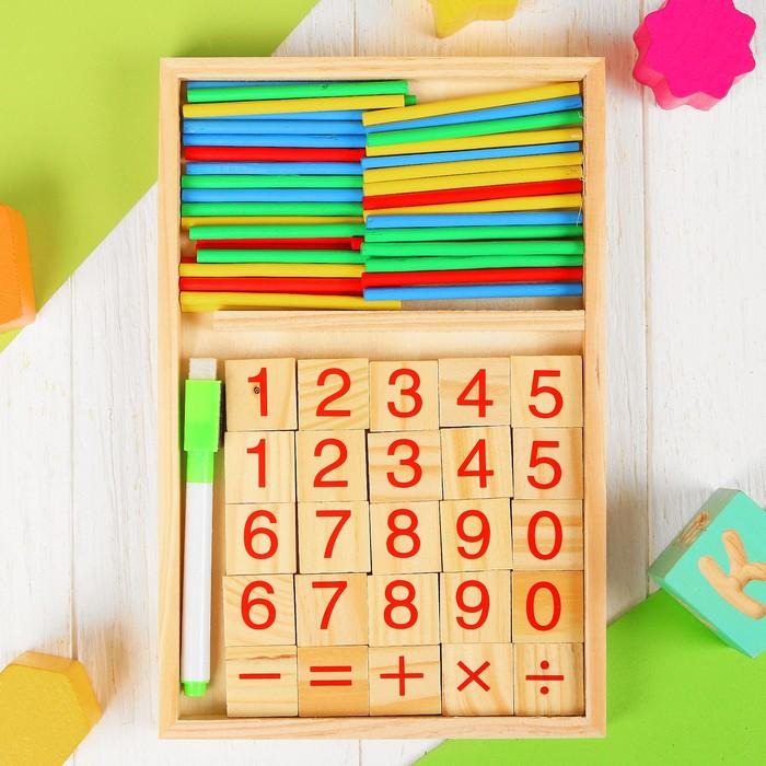 деревянная Набор для изучения счета Calculating box: палочки, плашки, досочка и маркер