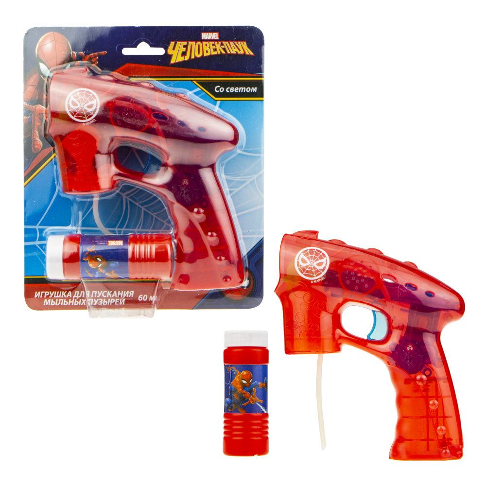 Пистолет с мыльными пузырями Человек Паук 60мл, свет