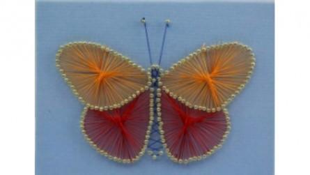 Творч Стринг-Арт Картина из гвоздей и ниток 20*15 Красивая бабочка