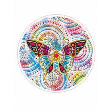 Творч Алмазная мозаика Круг 24см Бабочка