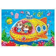 Творч Мозаика из помпонов А4 Щенки в подводной лодке