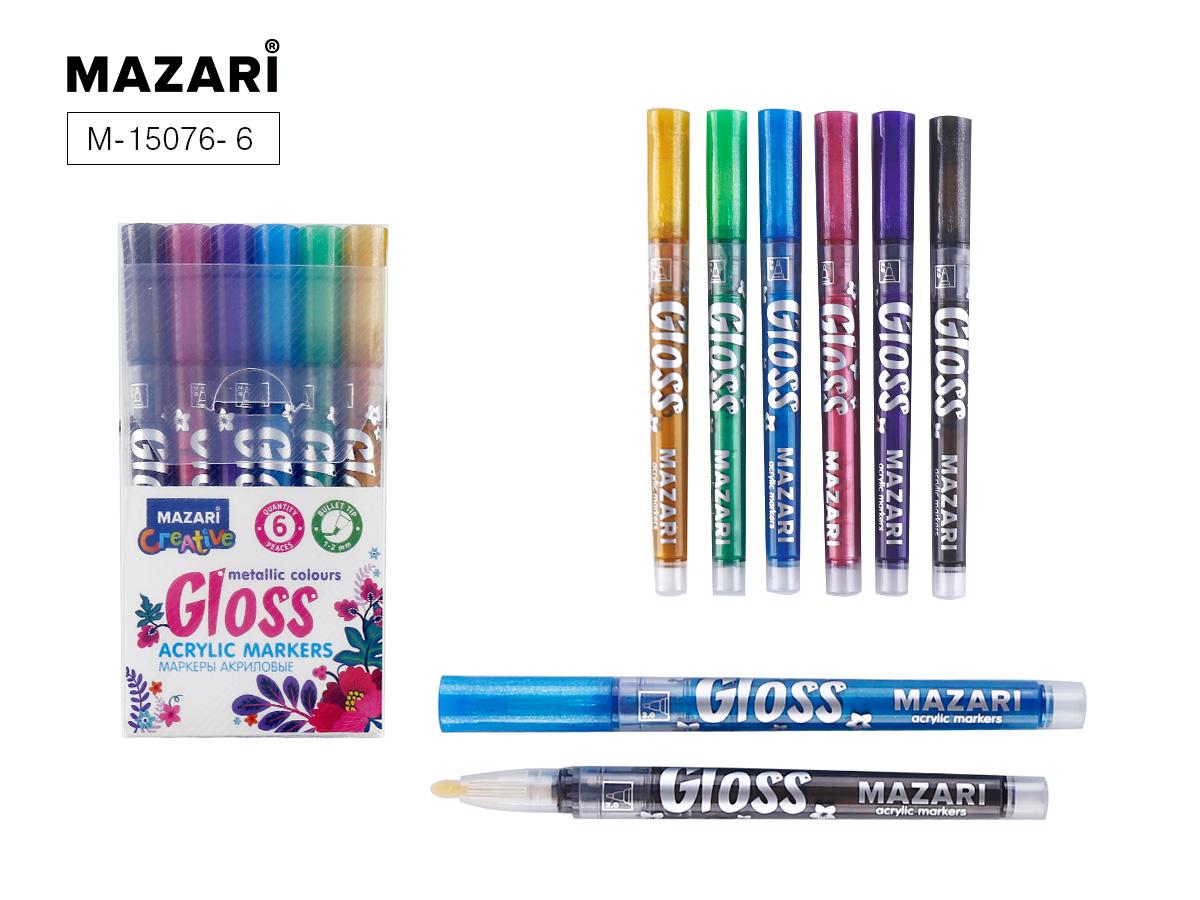 Маркеры-краски 6цв Mazari GLOSS с эффектом металлик 1.0-2.0 мм