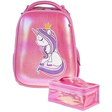 Ранец панцирный Hatber Единорог-Принцесса, розовый перламутр светоотраж. 2 отделения 2 кармана