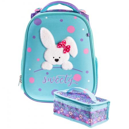 Ранец панцирный Hatber Пушистый кролик, мятный, светоотраж. 2 отделения 2 кармана с расширением
