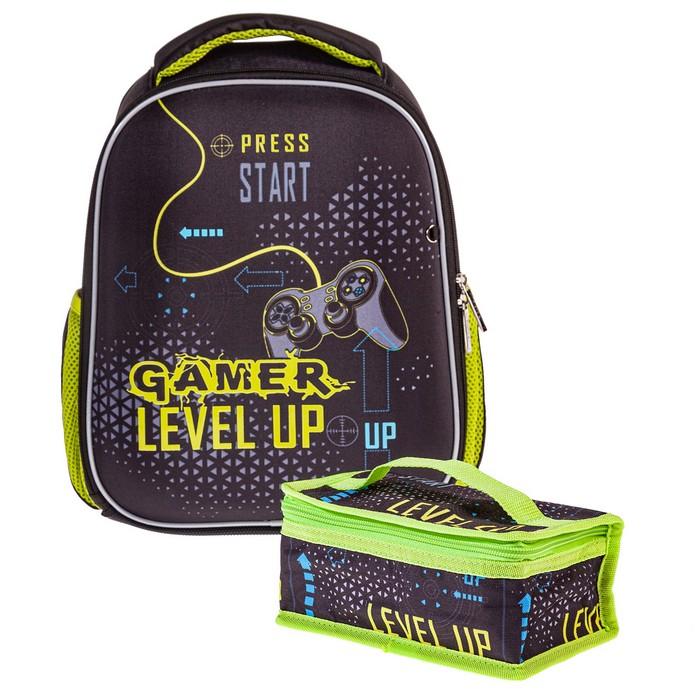 Ранец панцирный Hatber Gamer светоотраж. 1 отделение 2 кармана и 1 потайной на спине