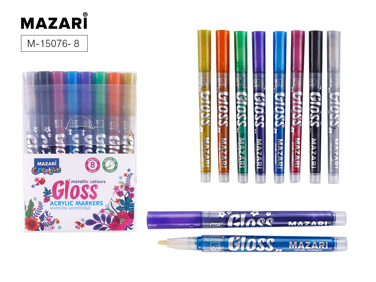 Маркеры-краски 8цв Mazari GLOSS с эффектом металлик 1.0-2.0 мм