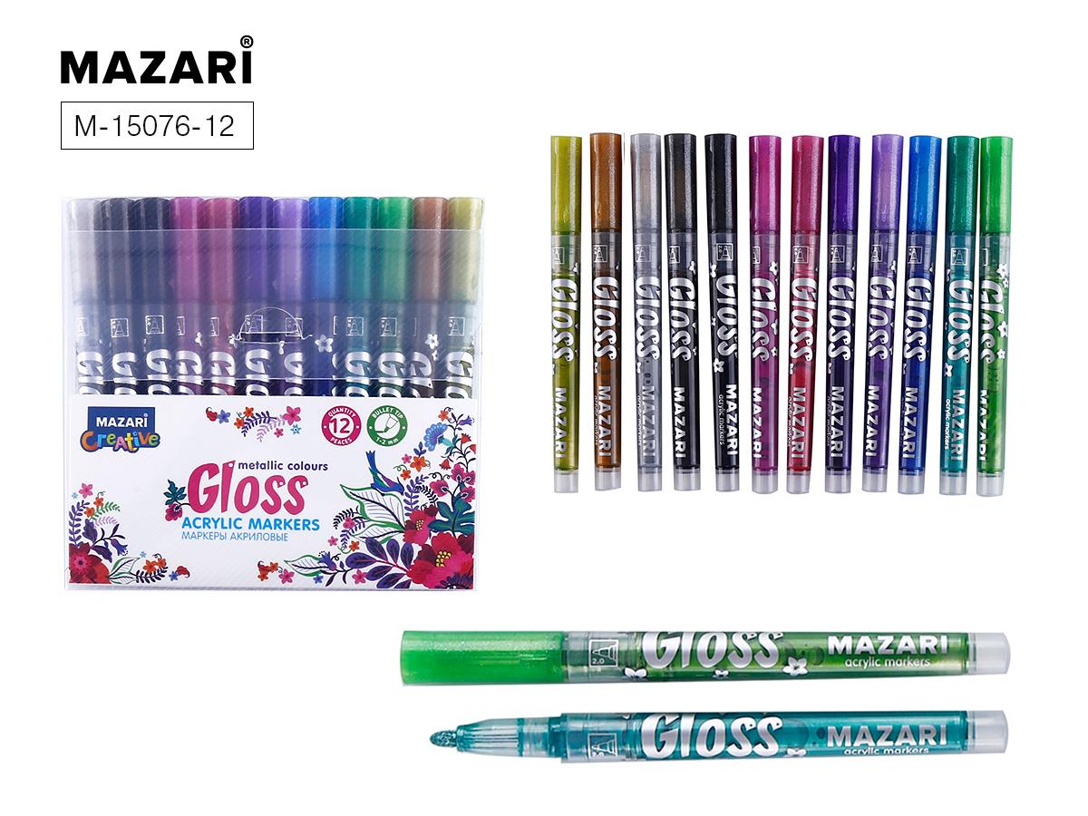 Маркеры-краски 12цв Mazari GLOSS с эффектом металлик 1.0-2.0 мм