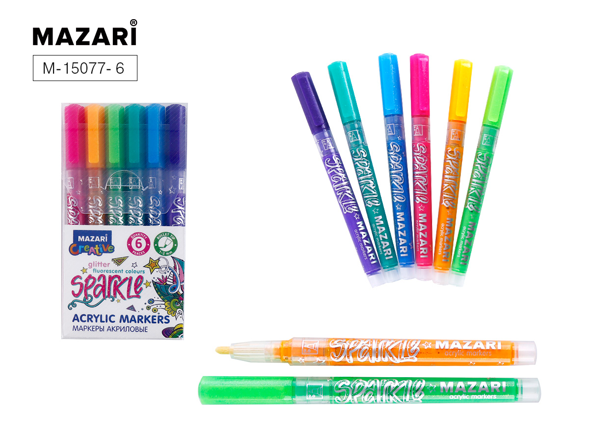 Маркеры-краски 6цв Mazari Sparkle с блестками 1.0-2.0 мм