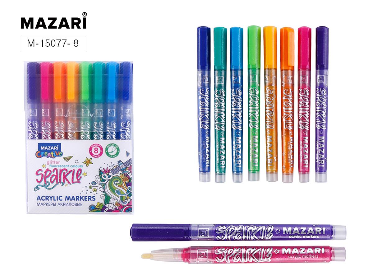 Маркеры-краски 8цв Mazari Sparkle с блестками 1.0-2.0 мм