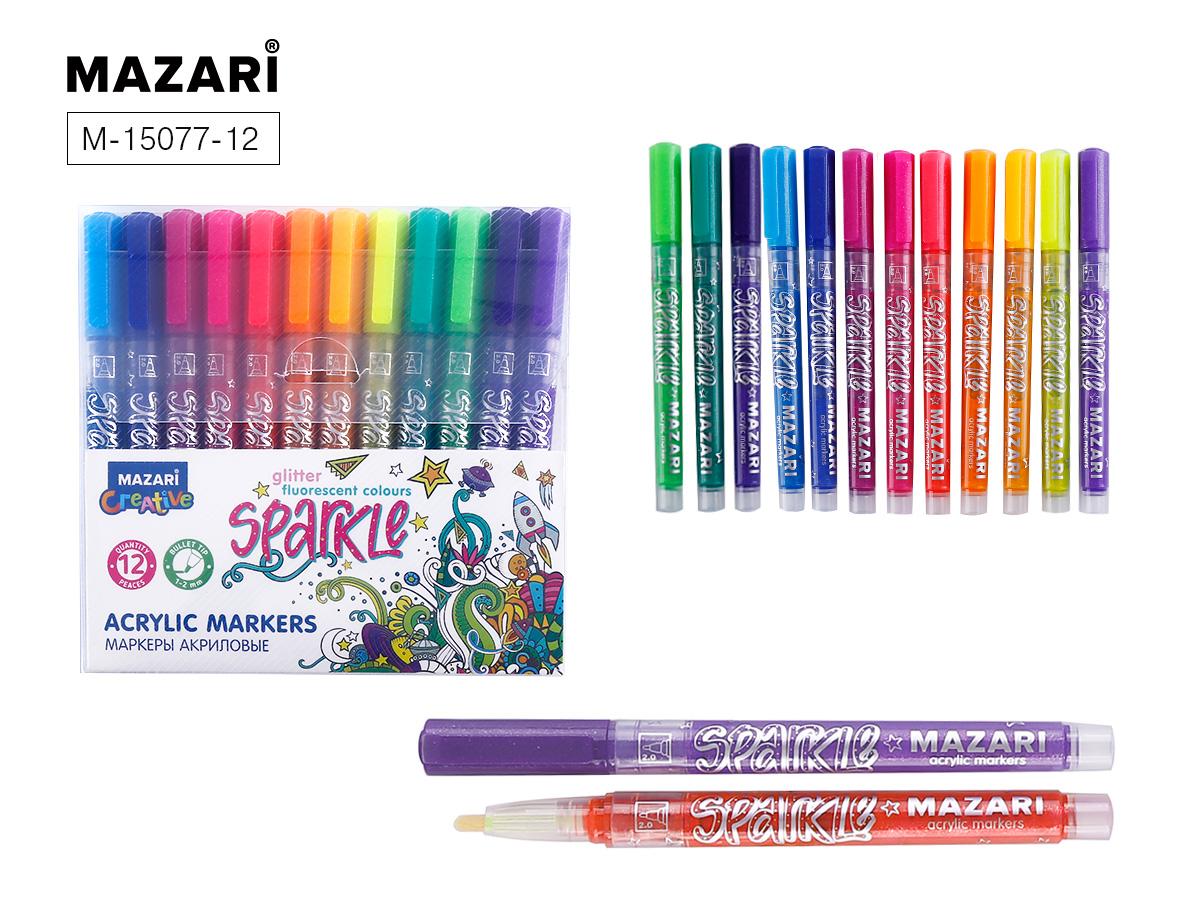 Маркеры-краски 12цв Mazari Sparkle с блестками 1.0-2.0 мм