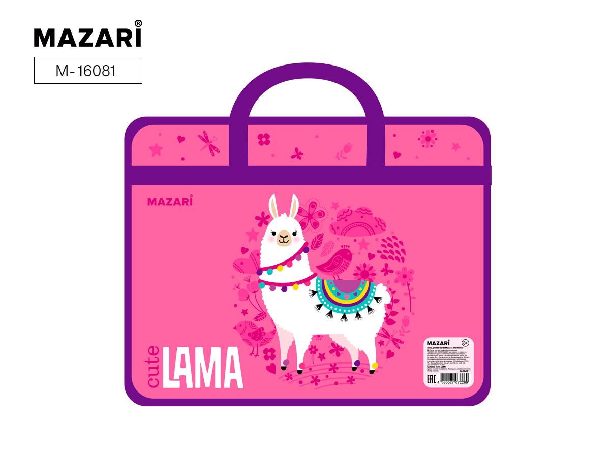 Сумка А4 пластик 1отд на молнии Mazari Cute Lama