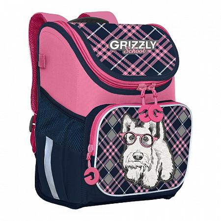 Ранец Grizzly Собака синий с розовым