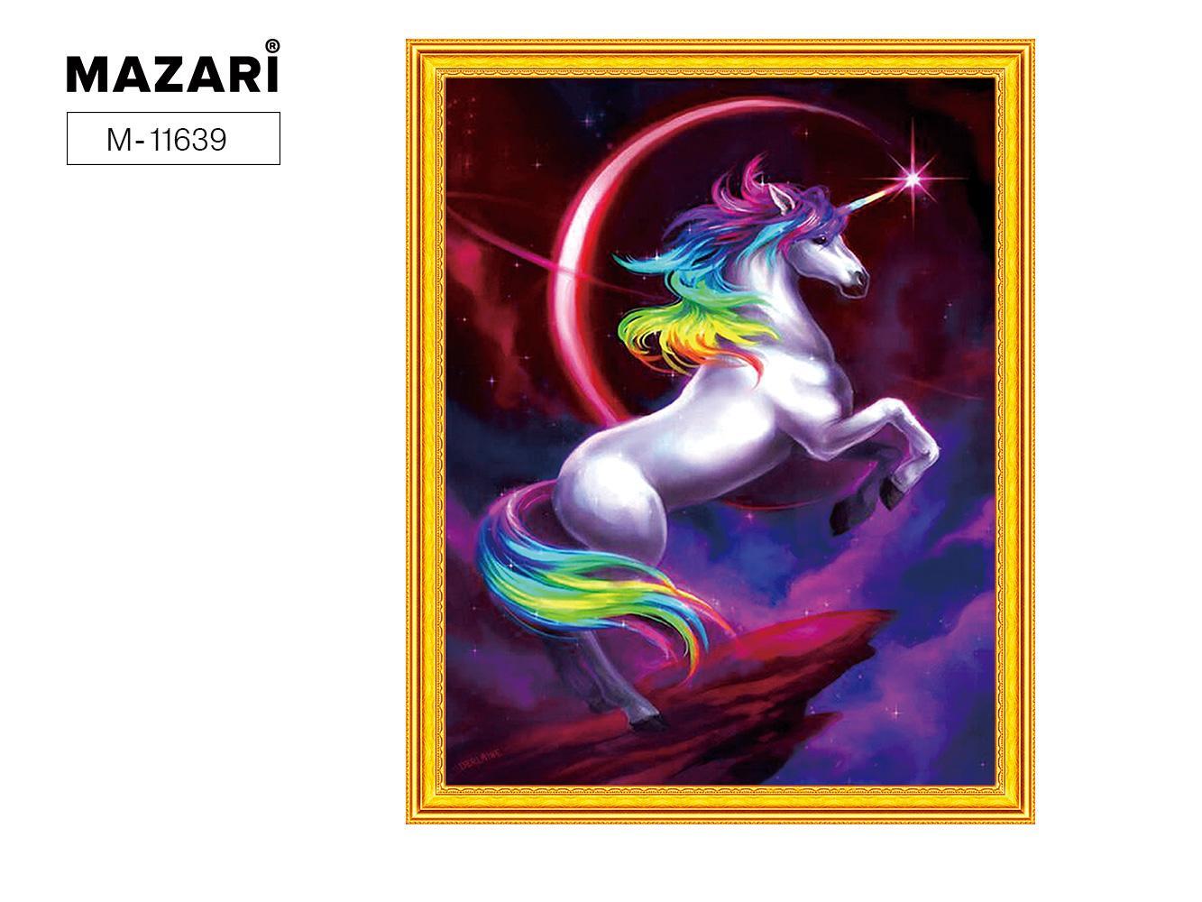 Творч Картина 2в1: Алмазная мозаика и Раскрашивание по номерам 40*50 Единорог