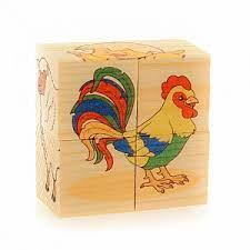 Кубики 4шт Животные фермы. Собери рисунок. Кубики-пазл