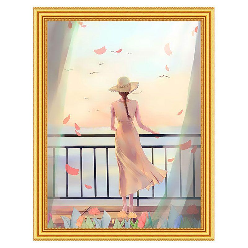 Творч Картина 2в1: Алмазная мозаика и Раскрашивание по номерам 30*40 Девушка