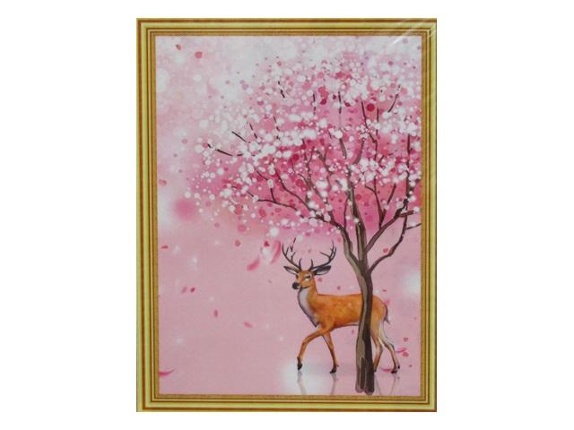 Творч Картина 2в1: Алмазная мозаика и Раскрашивание по номерам 30*40 Олень у дерева