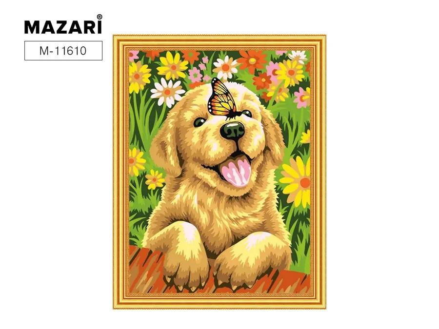 Творч Картина 2в1: Алмазная мозаика и Раскрашивание по номерам 30*40 Щенок с бабочкой