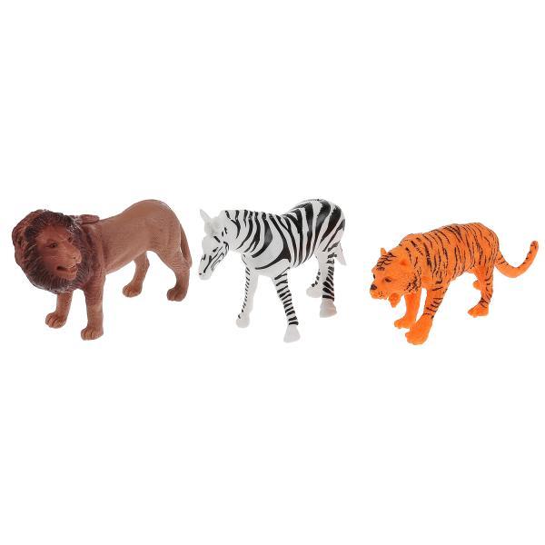 из ПВХ Животные Африки 3шт (лев, зебра, тигр)