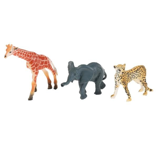 из ПВХ Животные Африки 3шт (жираф, гепард, слоненок)