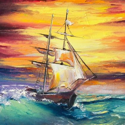 Творч Рисование по номерам 20х20 Парусник в открытом море с красками