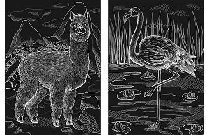 Творч Гравюра А4 2в1 Лама и фламинго