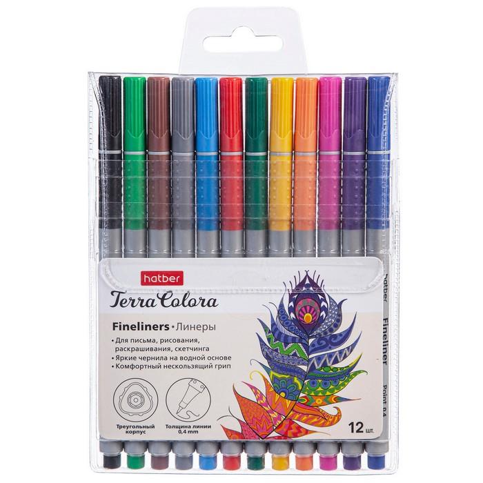 Ручки линеры 12 цв Hatber Terra Colora на водной основе