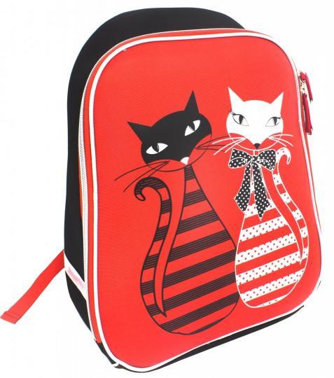 Ранец панцирный Коты красный-черный
