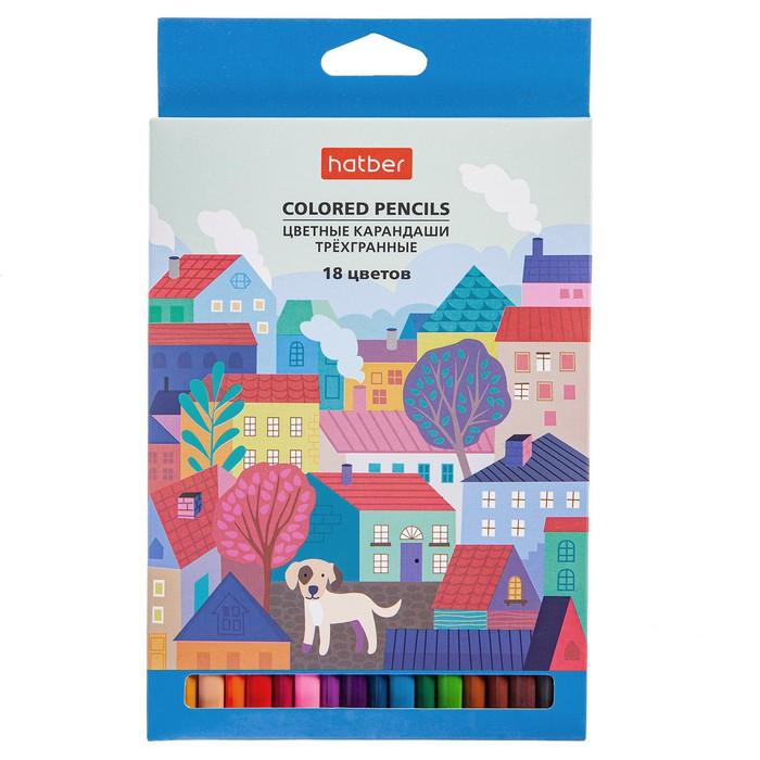 Карандаши цветные 18 цв Hatber Городок трехгран. зоточ.