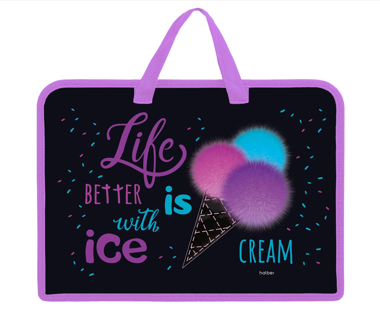 Сумка А4 пластик 1отд на молнии Hatber Ice cream