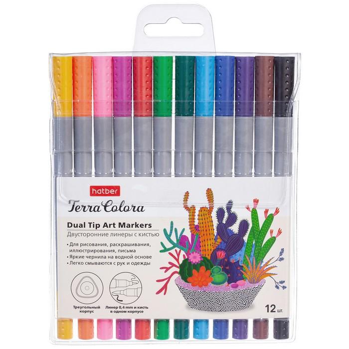 Ручки линеры 12 цв Hatber Terra Colora Артмаркеры (линер+кисть) на водн. основе