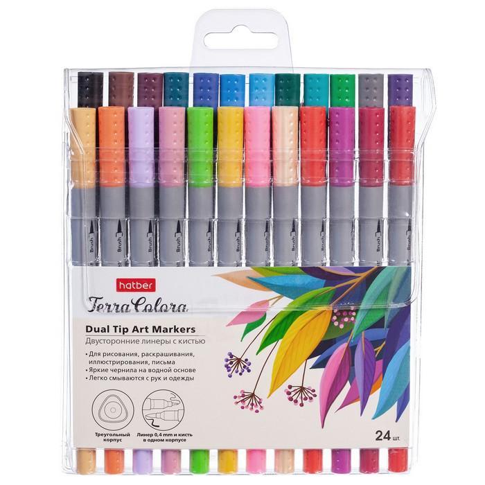 Ручки линеры 24 цв Hatber Terra Colora Артмаркеры (линер+кисть) на водн. основе