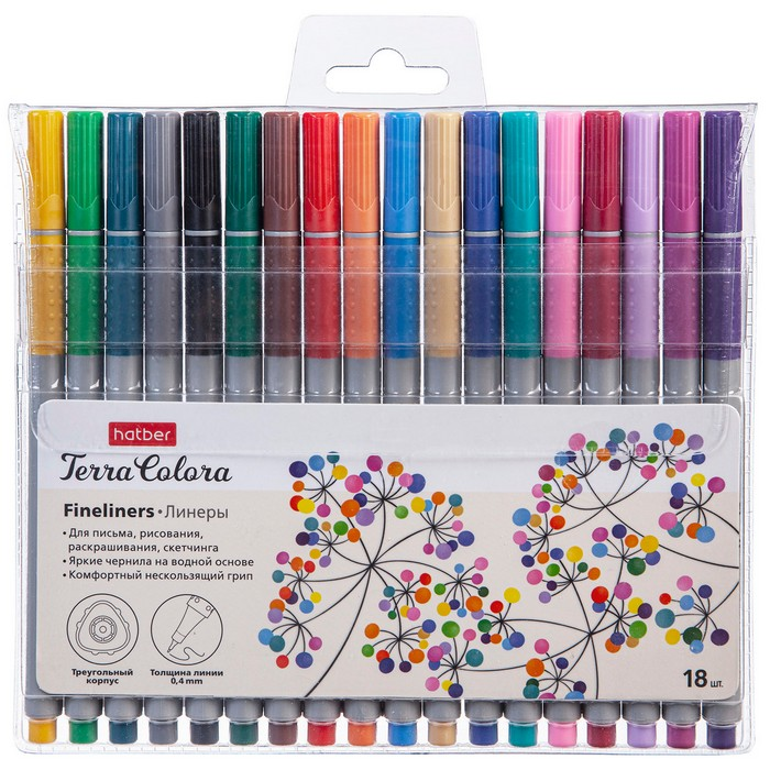 Ручки линеры 18 цв Hatber Terra Colora на водной основе